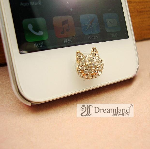 crystal Fox head Korea version mobile phone decals sticker gold plated zinc alloy cute Home button stickers wholesale 30pcs/lot(China (Mainland))