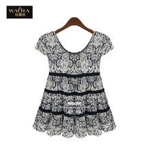 XL- 5XL! New 2015 Spring Europe and America Large yards Women Shirts o-Neck Thin Saika sleeve Chiffon shirt SA(China (Mainland))