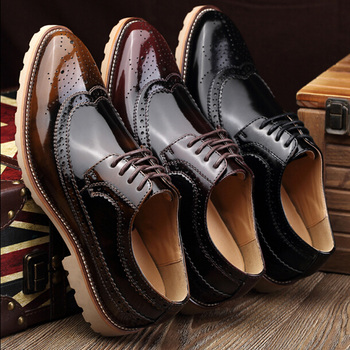 male pointed toe genuine leather brogue shoes british style trend carve vintage patent leather casual oxfords shoes for men