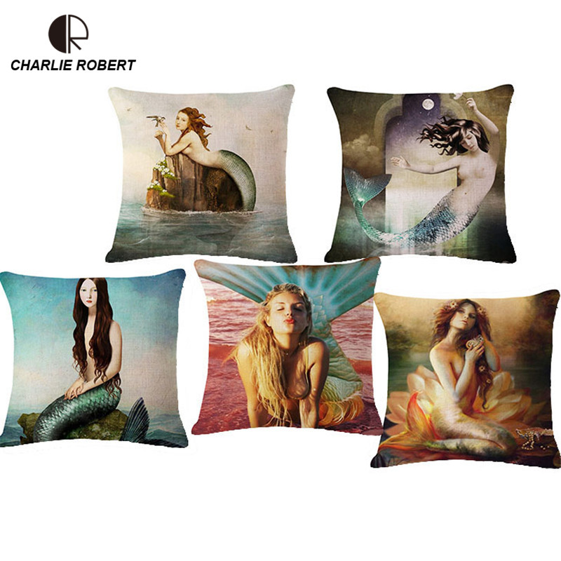 Mermaid Fashion Home Decorative Cushion Case Sofa Chair Seat Back Throw Pillow Without Core Nordic Decoration Pillow Pad HH1053(China (Mainland))