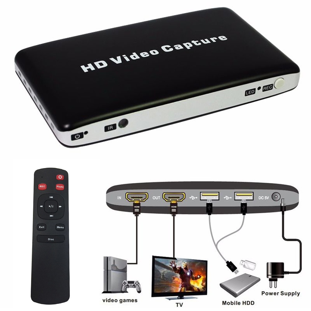 New USB 1080P HD Video Capture HDMI HDD Game AV Video Capture Recorder + Remote Control Game Recording Support Video Playback(China (Mainland))