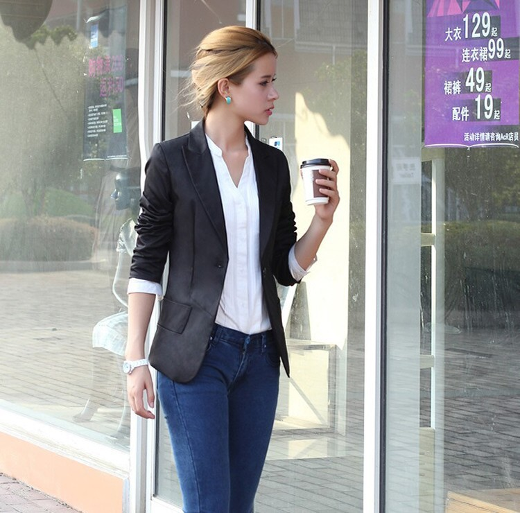 Blazer Feminino Fashion Women Suit Blazer Turn Back Cuff Jacket ...