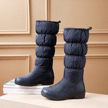 Kadın Kış Kar Botları hakiki deri uzun kış platformu düz çizmeler kadın diz Çizmeler üzerinde 2019 kadınlar için kalın kürk botları(China)
