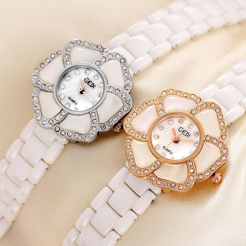 New Fashion GEDI Brand Genuine Ceramic Watches Women Dress Watches Flower Case Full Rhinestone Quartz Wristwatch<br>