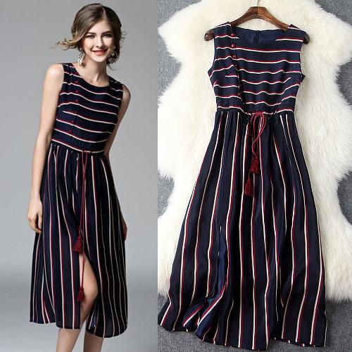 2016 women summer clothes new full silk dresses stripes Slim drawstring big swing dresses T5411(China (Mainland))