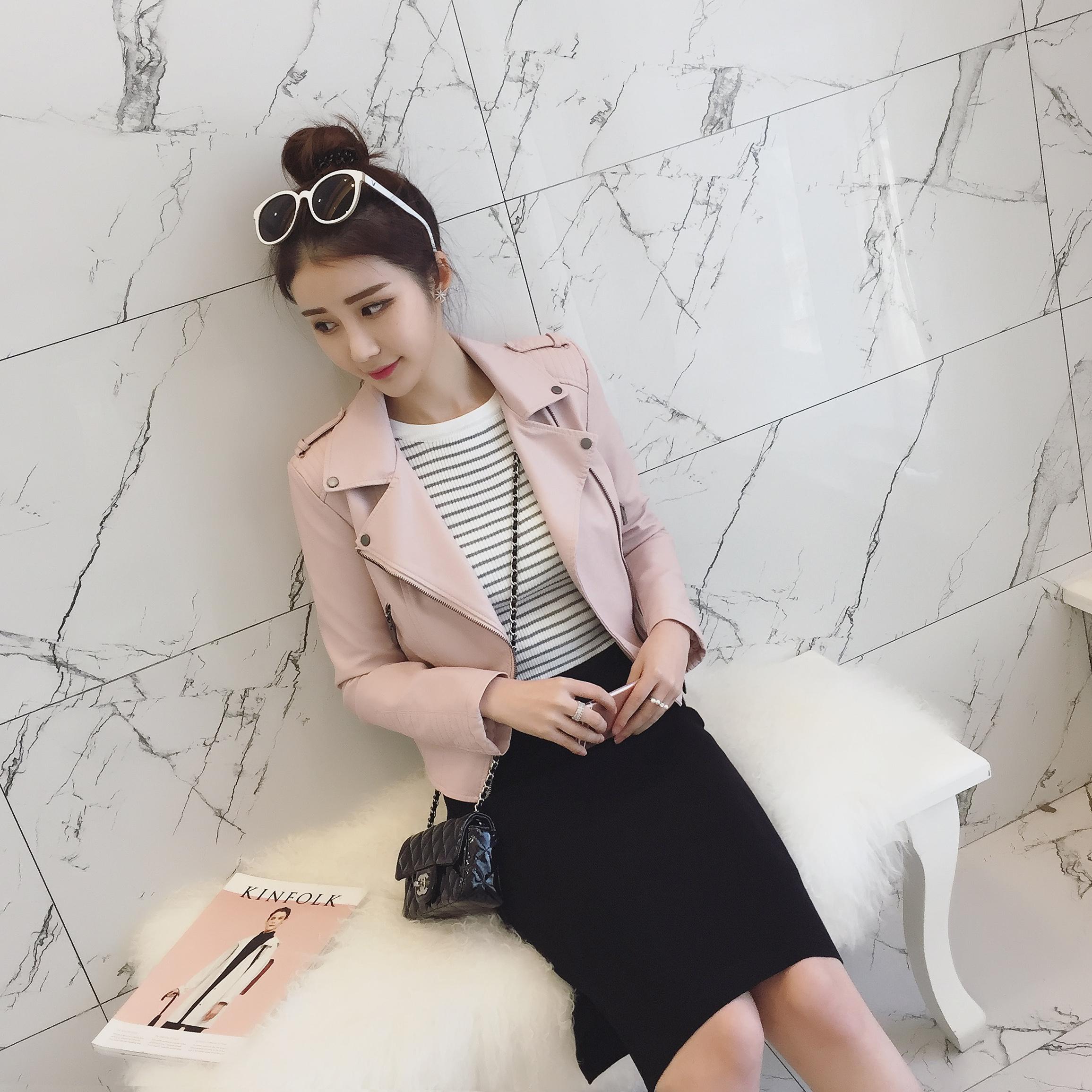 2016 spring new Korean female leather jacket Leather Slim locomotive Polo jacket female(China (Mainland))