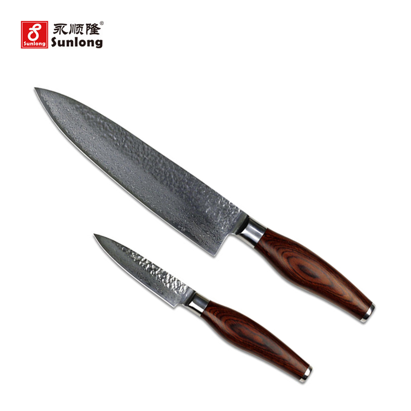 New arrival high quality damascus steel knives sets 2pcs kitchen tools fruit knife chef knife color wood handle utility knifes(China (Mainland))