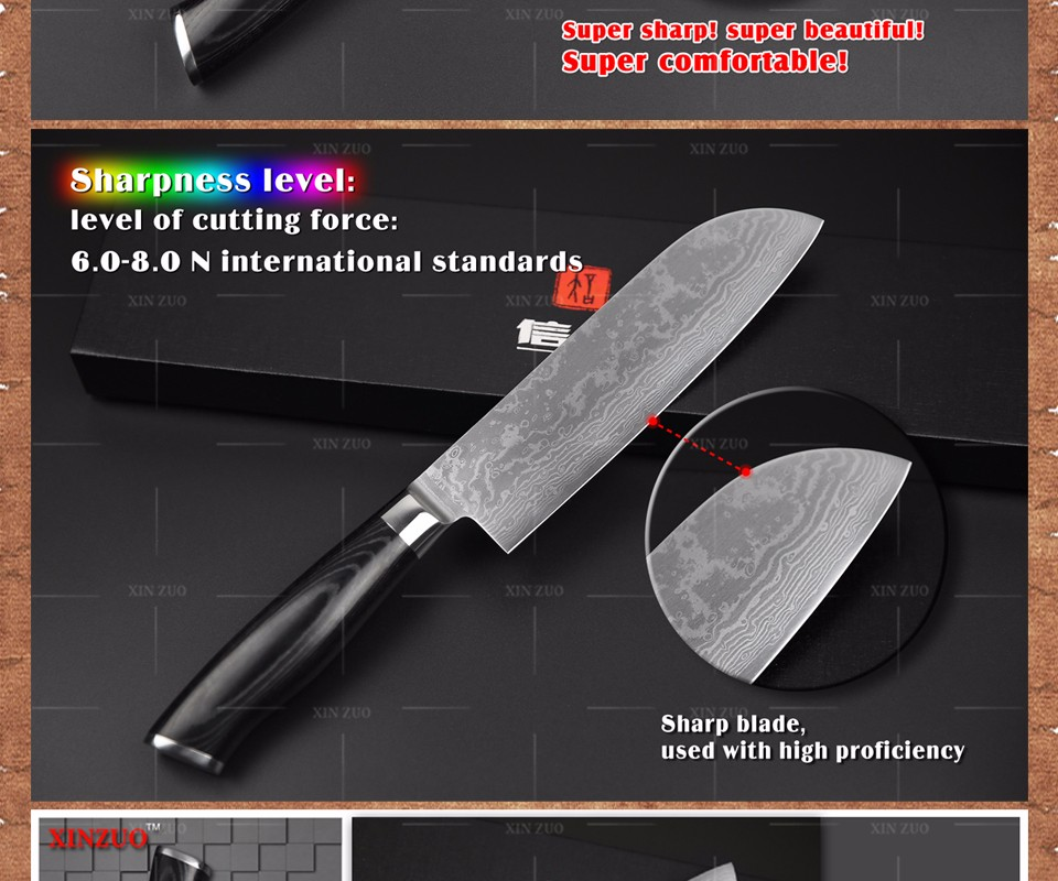 "Buy 7"" inch chef knife Japanese VG10 73 layer Damascus steel kitchen knife High quality sharp chef knife steel handle free shipping cheap"