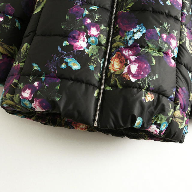 2016 Kış Moda Çiçek Baskı Kadın Ceket Uzun Parkas Sıcak ve Ince Mont Abrigos Mujer Doudoune Femme