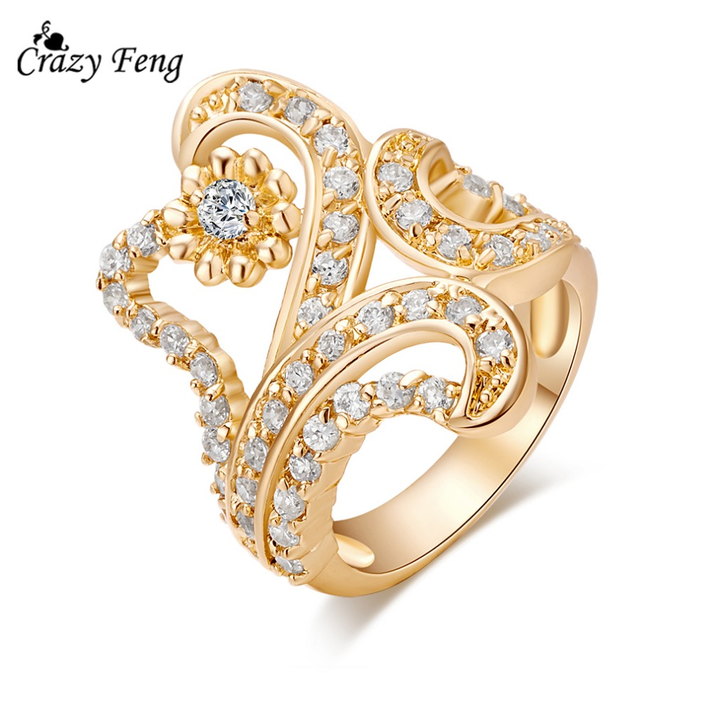 2016 new fashion ring 18k gold plated big