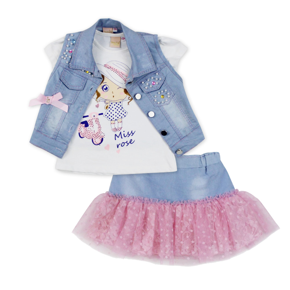 2016 fashion summer children clothing sets girl boutique outfits Denim short jackets cotton cartoon tops skirt suits clothes(China (Mainland))