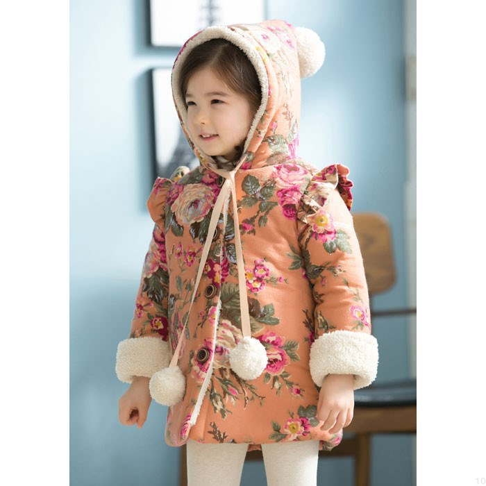 Free shipping winter girl coat childrens wear cotton baby girls cotton-padded jacket and cap children winter jacket coat<br><br>Aliexpress
