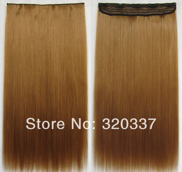 High Temperature Clip on Hairpieces 1PCS 24 130g Straight Long Clip in Hair Extensions Synthetic Hair #27 Brown Hair Extension<br><br>Aliexpress