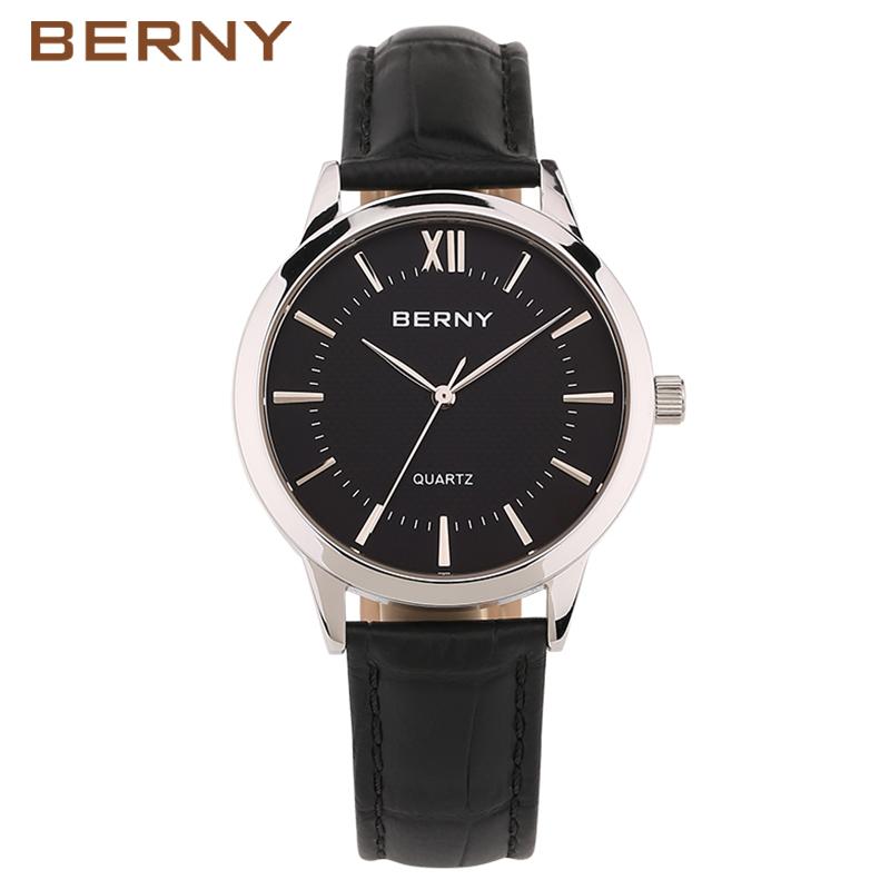 BERNY Brand Watches Men Calfskin Leather Quartz Watch Fashion Casual Waterproof Sports Male Wrist Quart-Watch 2017 Clock Hands(China (Mainland))