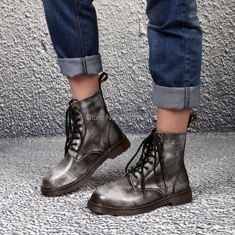 new 2014 Europe DC fashion men leather ankle martin boots comfortable male oxford low heel winter boots shoes big size 45(China (Mainland))