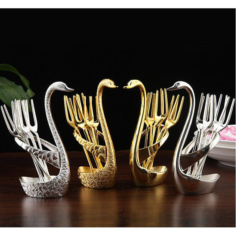 Buy Gold swan fruit fork dessert spoon set Fashion creative suits Luxurious gold fruit dessert fork cutlery quality wedding gift cheap