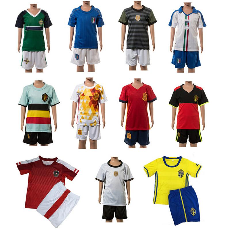 2016 Football Team Soccer Jerseys Sets Summer Youth Children Boys Football Jerseys Set Breathable Survetement Football Kids(China (Mainland))