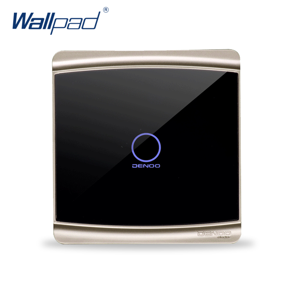 Free Shipping Wallpad Luxury Black Crystal Glass Switch Panel Touch Screen Wall Light Switch Backlight LED 1 Gang 1 Way(China (Mainland))