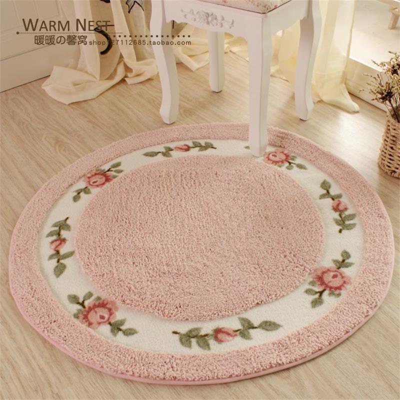 90CM Diameter Pastoral Flower Doormat Soft Plush Round Rotating Chair Floor Mat Modern Bathroom Carpet Children Play Mat/Rugs(China (Mainland))