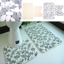 Soft Luxuary Coral 2 Pieces 49.5x77cm+39x50cm Bath & Pedestal Mat Toilet Non Slip Floor Mats Rugs(China (Mainland))