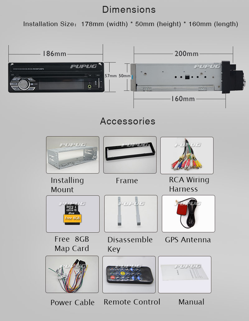 Free 8GB GPS Map Card 1din Car Radio Stereo Dash CD DVD Player Touch Screen Detachable Front Face GPS Navigation Headunit FM AM