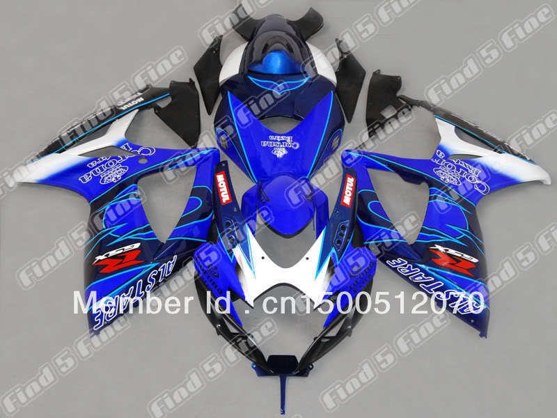 blue white black fairings SUZUKI GSXR600 GSXR750 06 07 GSX-R600 GSX-R750 06-07 GSXR 600 750 2006 2007 2006-2007 body kit - DAKE store