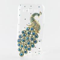Handmade Fashion Diamond Blue Crystal Peacock Hard Case For Samsung Galaxy Galaxy Win i8552 8552 Free Shipping