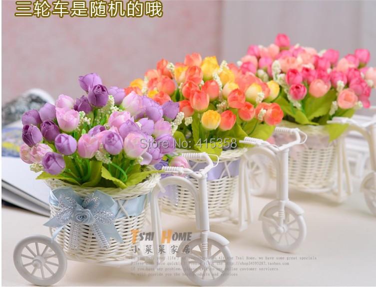 1 Set (2bouquet flowers + pc vase) artificial silk Rose flower Bike basket Simulation suit DIY home - Dong zhongqiang's store