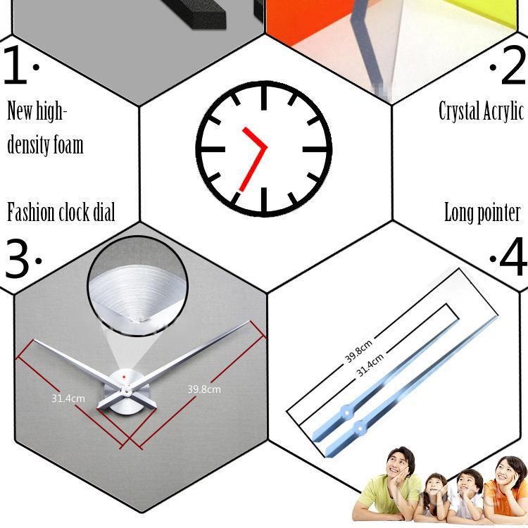 Home Decor New Fashion  Time AluminumModern Design Photo Frame Clocks Wall Clock