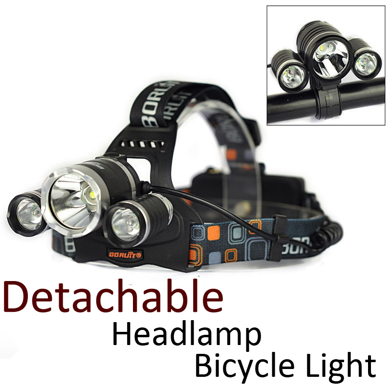 100% High quality 2 in1 6000LM LED Bicycle Light HeadLamp 3x CREE XML T6 4-Modes Rechargeable 2 x18650 Headlight Boruit RJ1156<br><br>Aliexpress