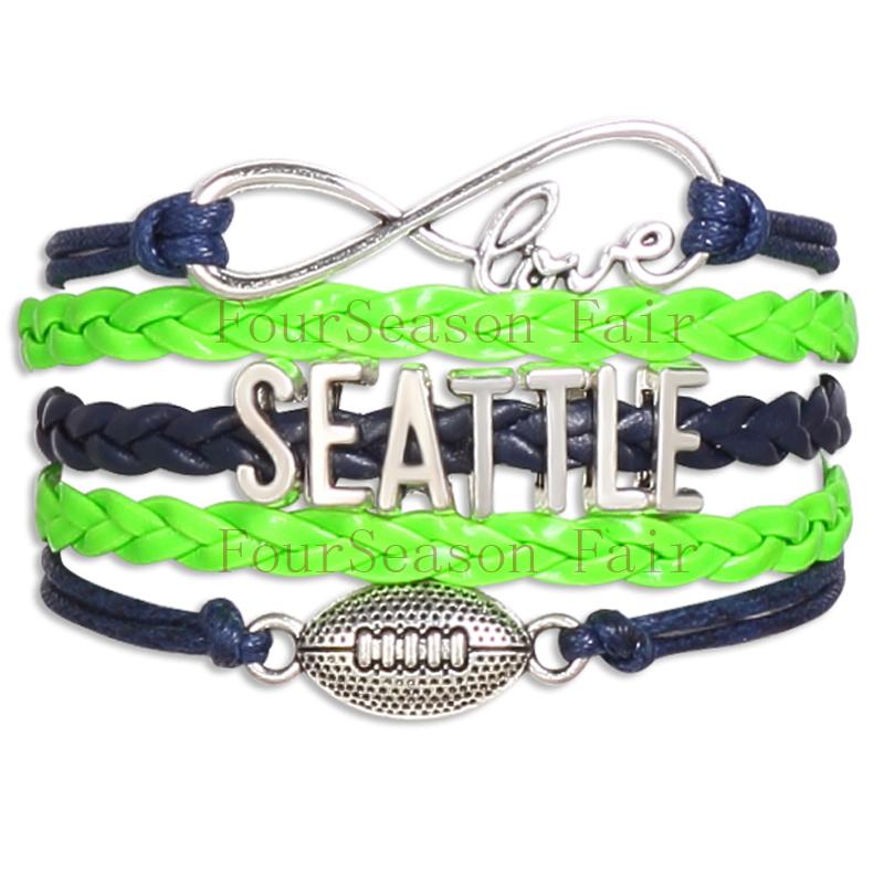Customizable-Infinity Love SEATTLE State football Team Bracelet GREEN NAVY BLUE Wristband friendship Bracelets-Drop Shipping(China (Mainland))