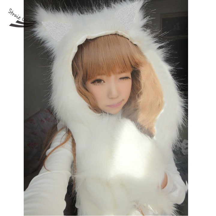 Free shipping Fashion Women hat female winter animal cap faux fur one piece cartoon cap belt scarf Christmas gifts Free Shipping(China (Mainland))