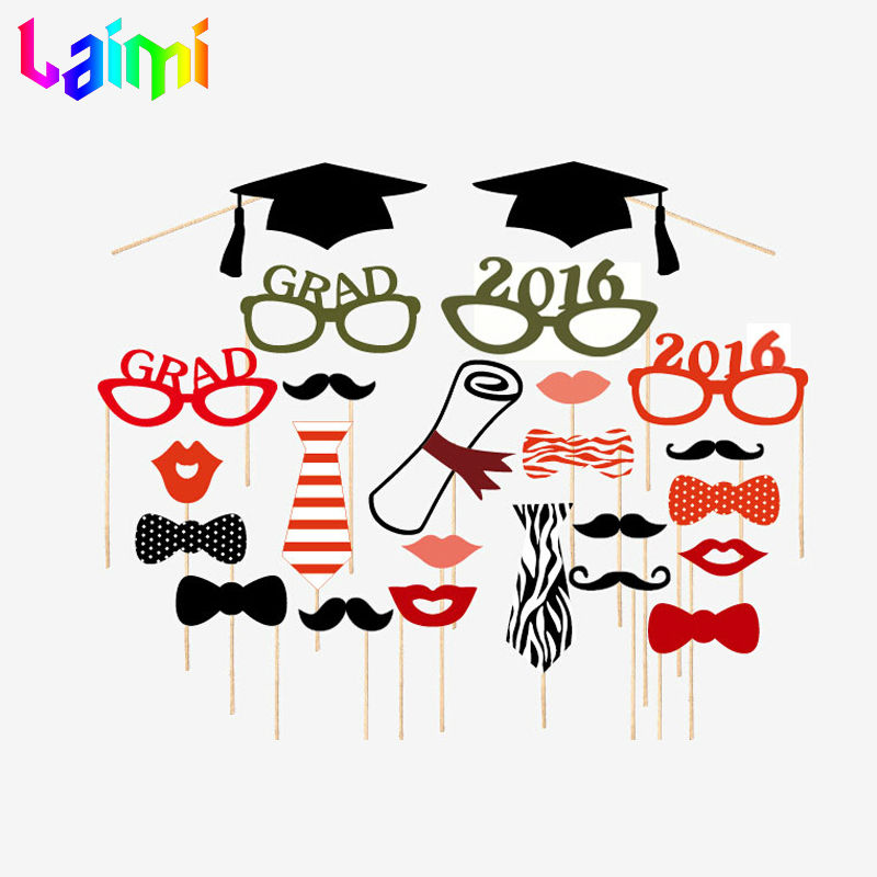 24pcs/lot 2016 New Graduation Photo Booth Props Glasses Mustache Lip Bow On A Stick Wedding Birthday Party Fun Favor Decoration(China (Mainland))
