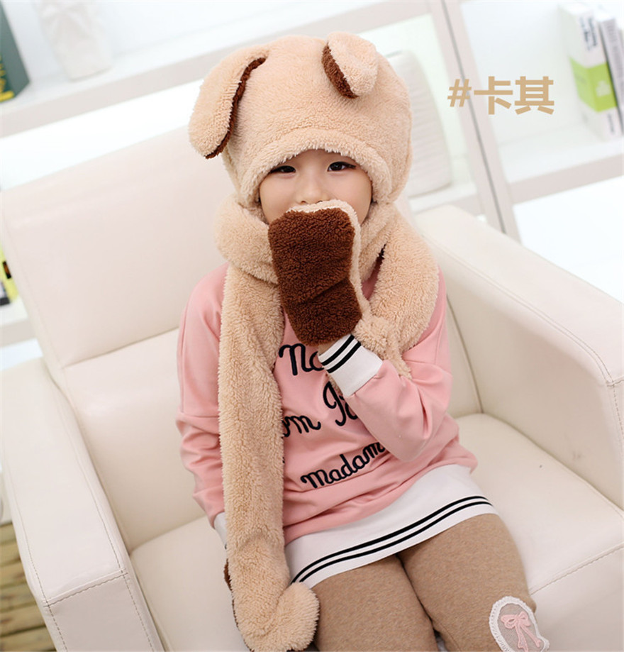 Fashion Lovely Girls Winter Neck Warm Thicken Rabbit Ear Hat Scarves Gloves Three-Piece Fitted Boys Best Love Christmas Bandana(China (Mainland))