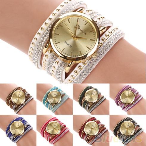 Womens Geneva Faux Suede Rivets Rhinestone Multi-Layer Wrap Bracelet Analog Wrist Watch <br><br>Aliexpress