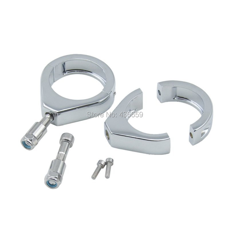 Motorcycle 41mm Chrome Turn Signal Fork Clamps For Harley Softail Night Train FXSTB 1999 2009