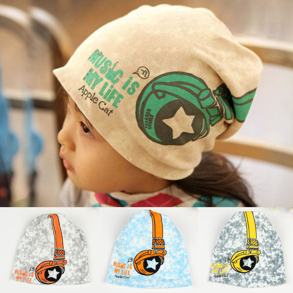 Fashion Toddlers Winter Headphones Baby Hat Crochet Photography Props Knitted Cotton Cap Kids Girls Boys Camouflage Hat W1