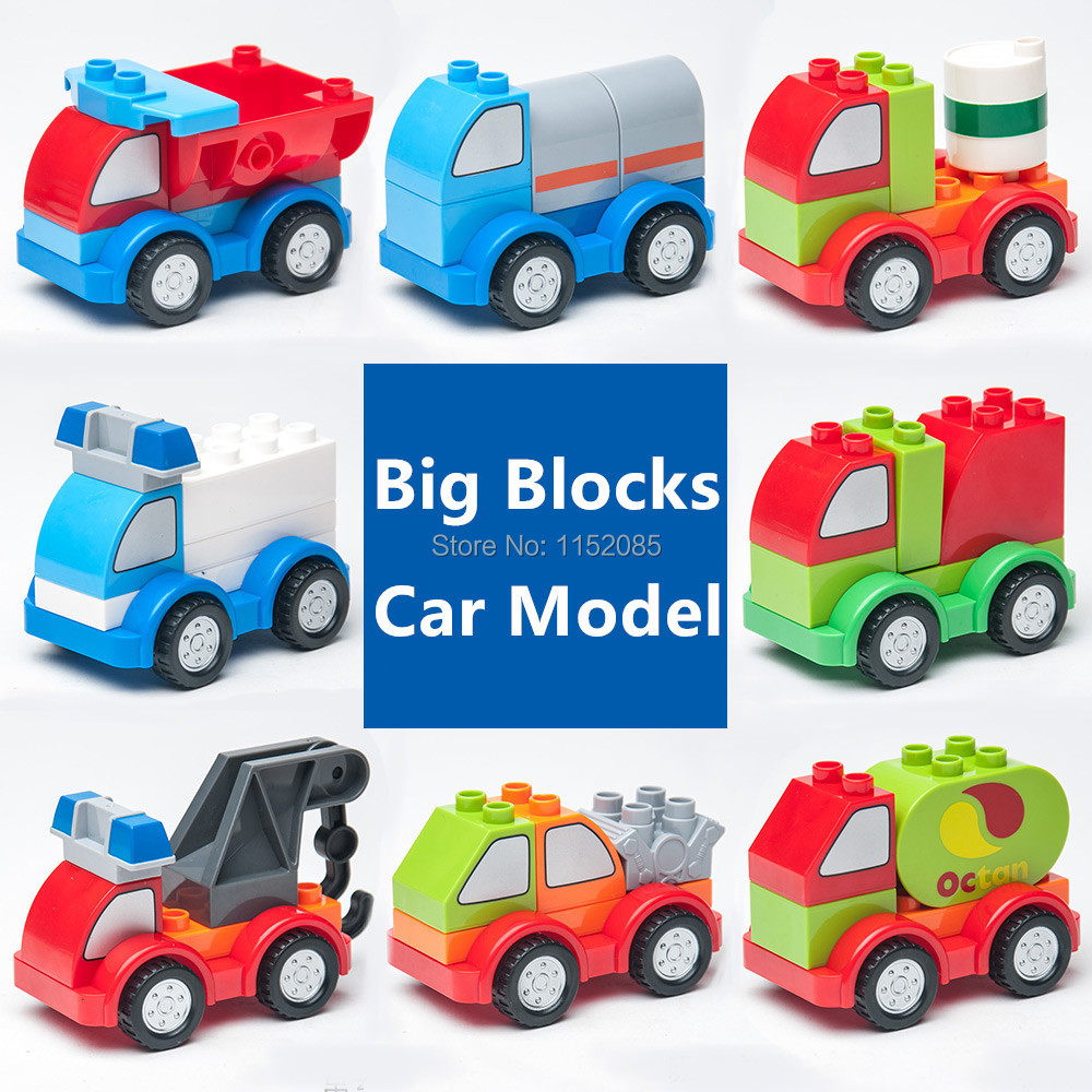 8 Car Models Big Building Blocks Baby Toys Self-Locking Bricks Educational Toys for Children Compatible with Lego Duplo<br><br>Aliexpress