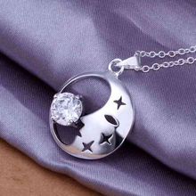 Buy wholesale silver plated pendant,925 fashion Silver jewelry rhinestone moon pendants necklace women/men +chain SP316 for $1.30 in AliExpress store