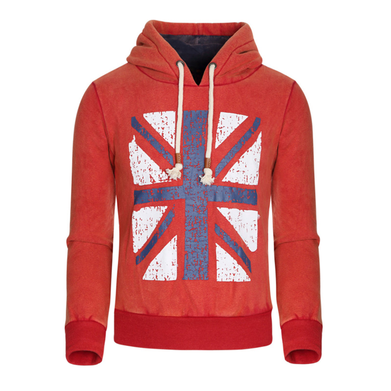 2016 New Xmas Gift UK flag printing Thickening Cotton-padded Winter Warm Hoodie Flannel Soft Comfort Cashmere Sweatshirts(China (Mainland))