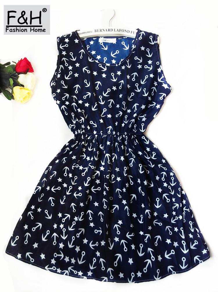 F&H Brand Blue stars 20 Colors Fashion Women New Sleeveless Florals Print Round Neck Dress 2016 Saias Femininas Summer Clothing(China (Mainland))