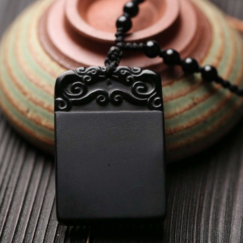 No matter the genuine natural Obsidian pendant crystal pendant double male and female brave nation wind All is well.(China (Mainland))