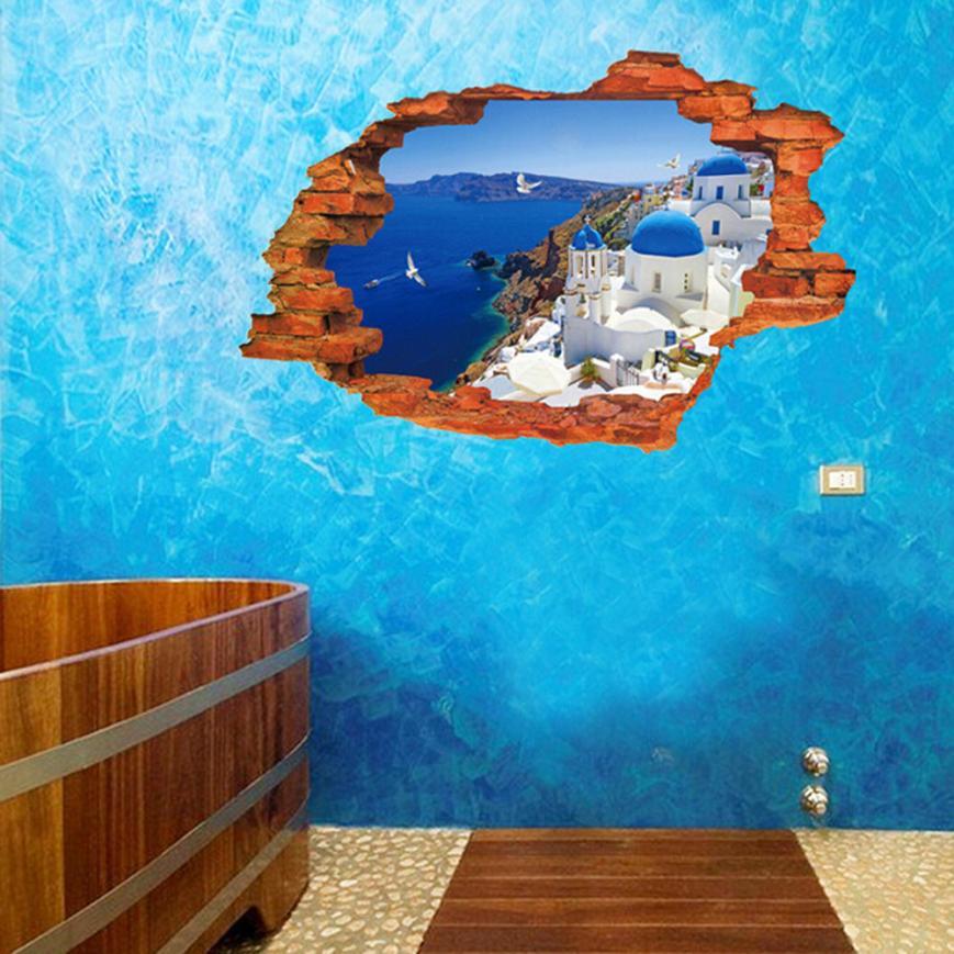 Mosunx Business   3D Sea Castle Broken Wall Mural Wall Sticker Art Vinyl Decal Home Room Decor