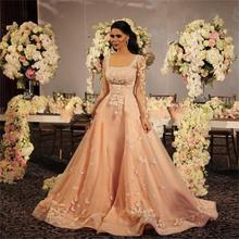 2015 Muslim Prom Evening Dresses With Long Sleeve Appliques Lace For Special Occasion Party Gowns Vestidos De Fiesta R84(China (Mainland))