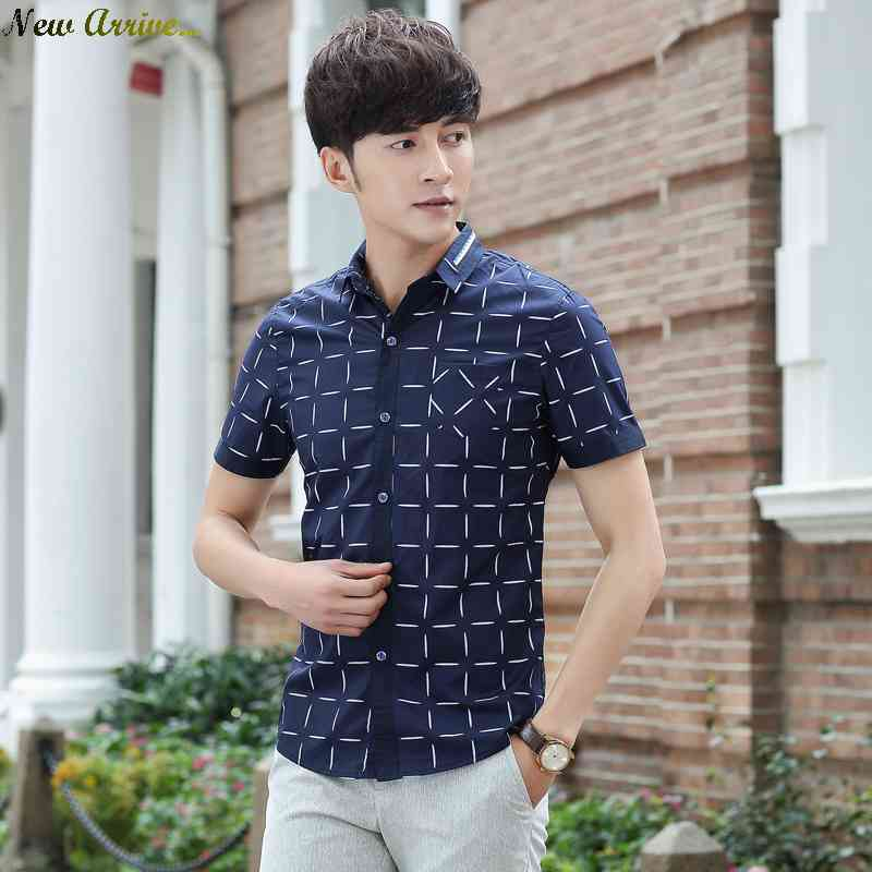 Free Shipping new 2015 summer short sleeve check shirt mens slim fit youth shirts and leisure 1431654237(China (Mainland))