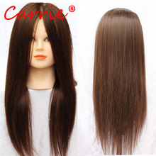 Mannequin Training Head Cosmetology Mannequin Heads 80% Human Hair Hairdressing Doll Heads With Long Hair Practice Training Head