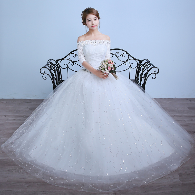 Luxury Off Shoulder Crystal Wedding Gown High Quality Tulle Wedding Dresses Korea Style Lace Up Back Plus Size Bridal Gown(China (Mainland))