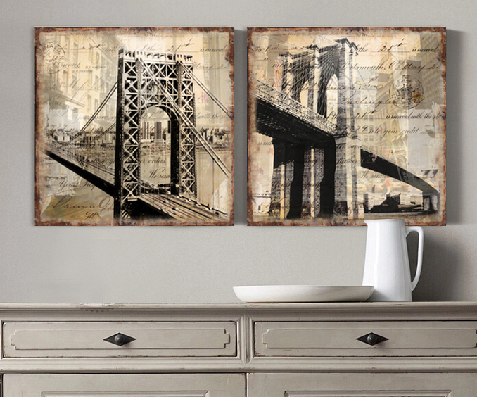 yellowing of the brooklyn bridge canvas art wall home