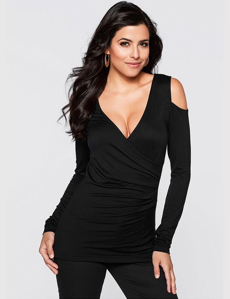 Camisetas mujer 2015 sexy deep v neck off shoulder top t for Best v neck t shirts women s