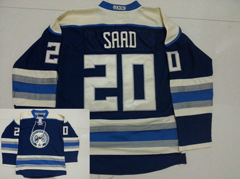 New! Men's Columbus Blue Jackets Ice Hockey Jersey 20 Brandon Saad Home Navy Blue Jersey Embroidery